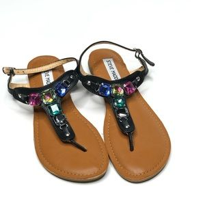 Steve Madden Colored Jeweled Thong Sandals Size 4